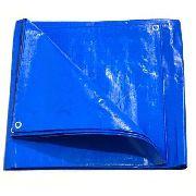 Lona Azul 300 Micras Reforçada Impermeavel Multiuso 7x6 Mts