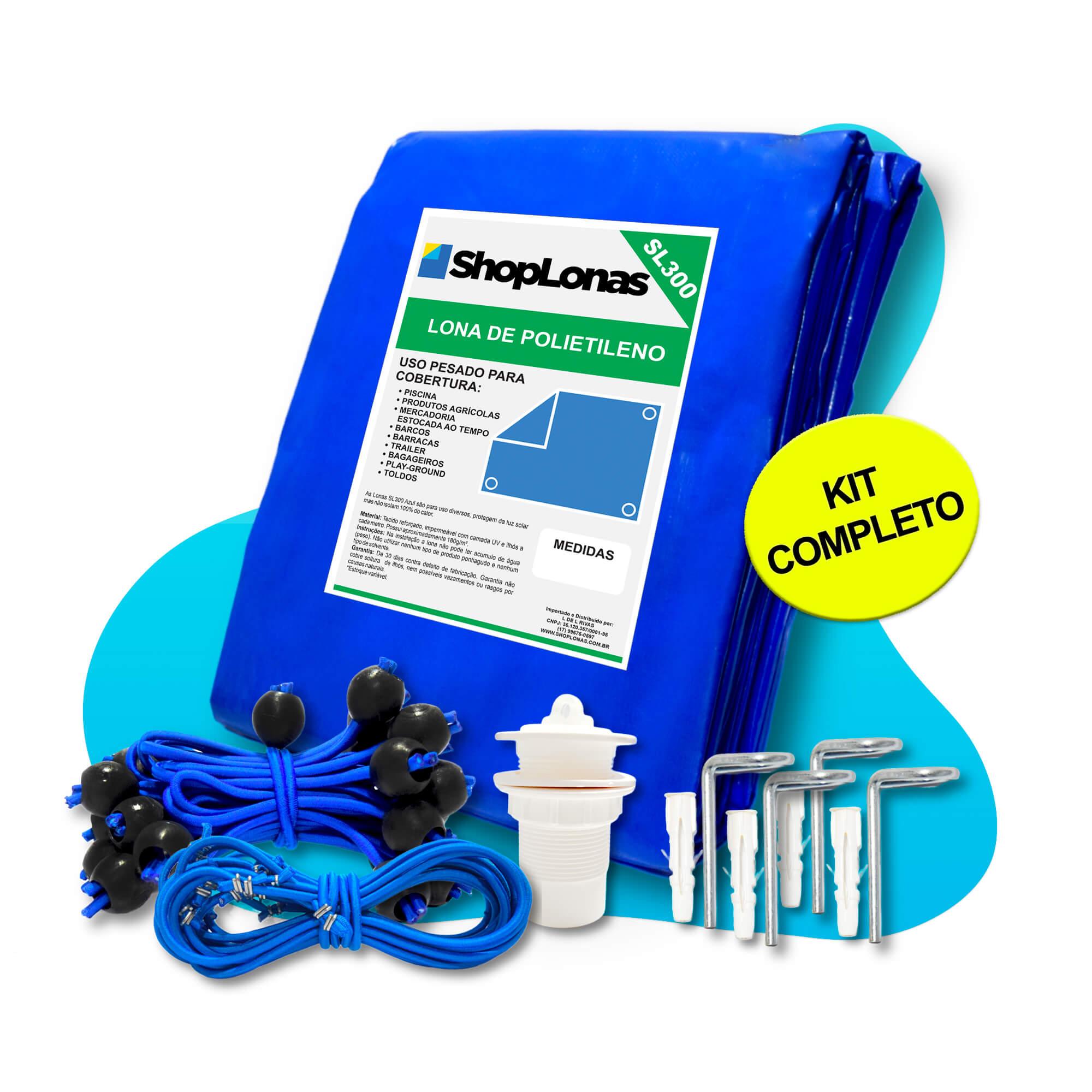 Capa para Piscina 10 em 1 Proteção Azul 300 Micras 14x4