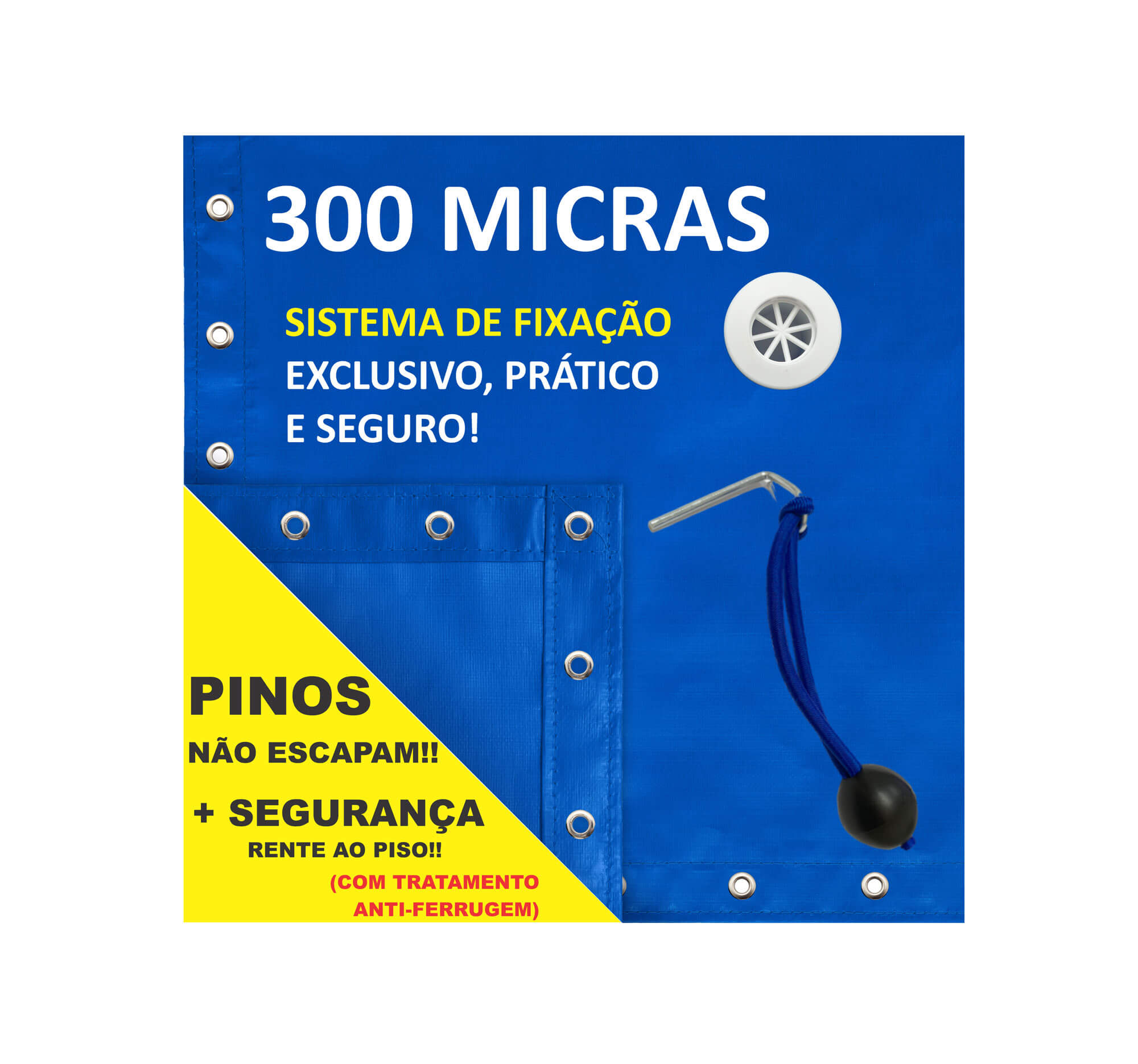 Capa para Piscina Proteção Azul 300 Micras - 12,5x4