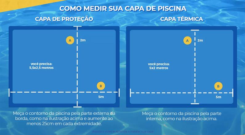 Capa para Piscina Proteção Azul 300 Micras - 6,5x7