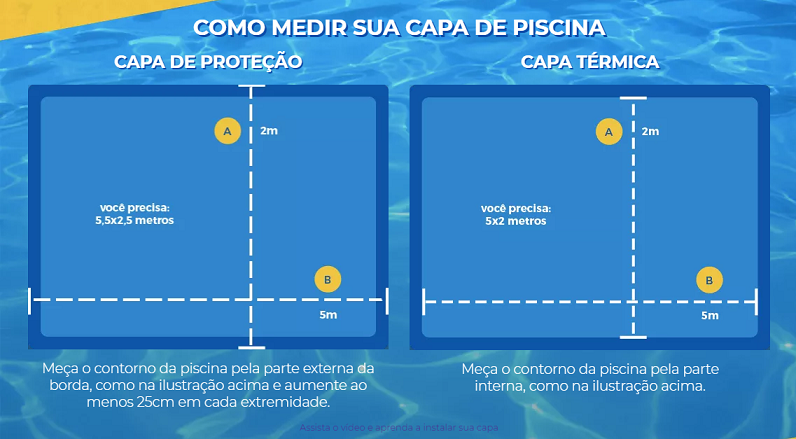 Capa para Piscina Proteção Azul 300 Micras - 6x2,5