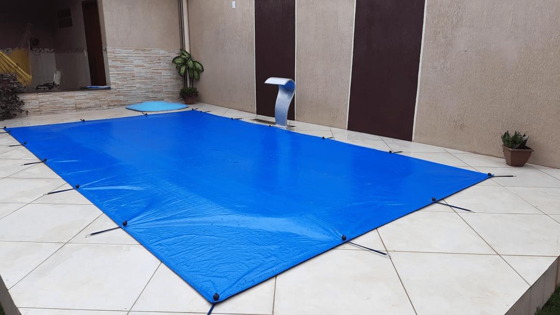 Capa para Piscina Proteção Cobertura Azul 300 Micras 12x7m