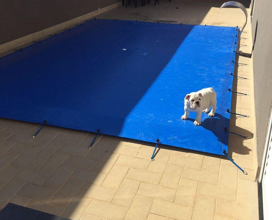 Capa para Piscina SL 300 Azul Completa com Acessórios Pinos e Extensores 6,5x3,5 m