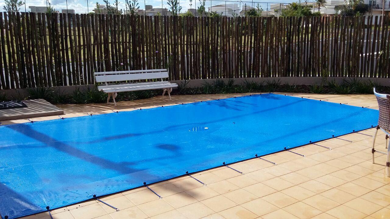 Capa para Piscina SL 300 Azul Completa com Acessórios Pinos e Extensores 7x4 m