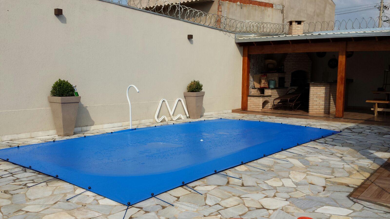 Capa para Piscina SL 500 Azul Completa com Acessórios Pinos e Extensores 7,5x4,5 m