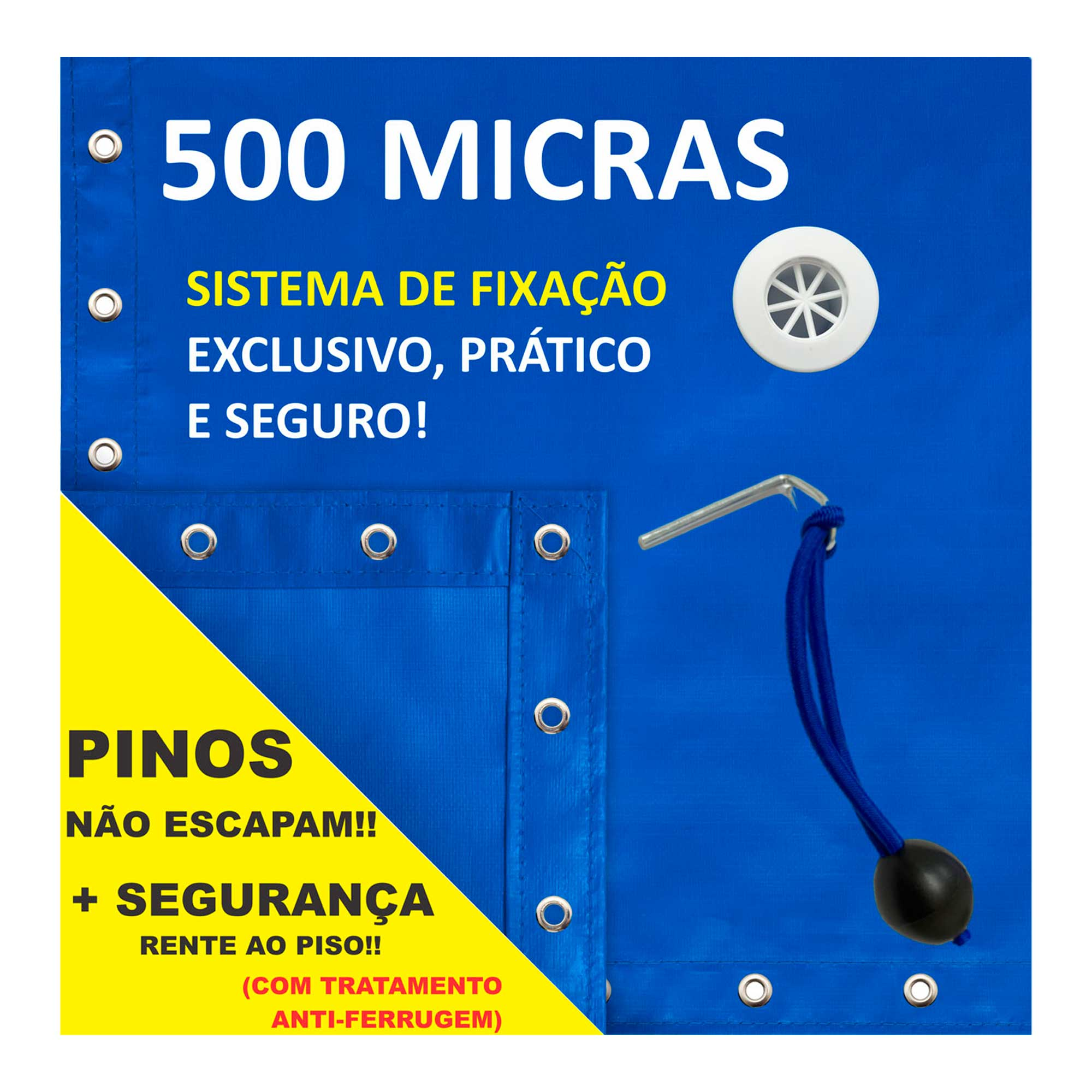 Capa Piscina para Proteção Azul 500 Micras - 2x7