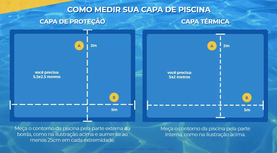 Capa Piscina para Proteção Azul 500 Micras - 6,5x2,5