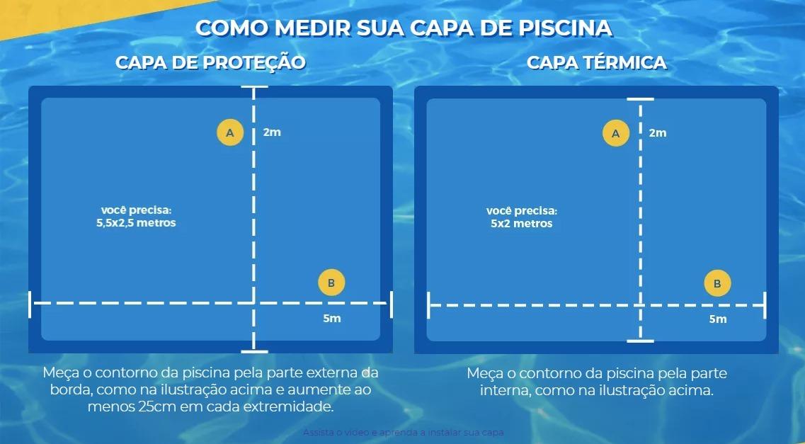 Capa Piscina para Proteção Azul 500 Micras - 8x7