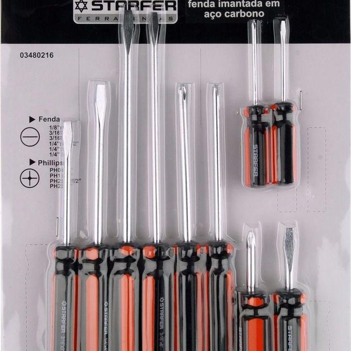 Jogo 10 Peças Chave Fenda Philips Starfer Magnética