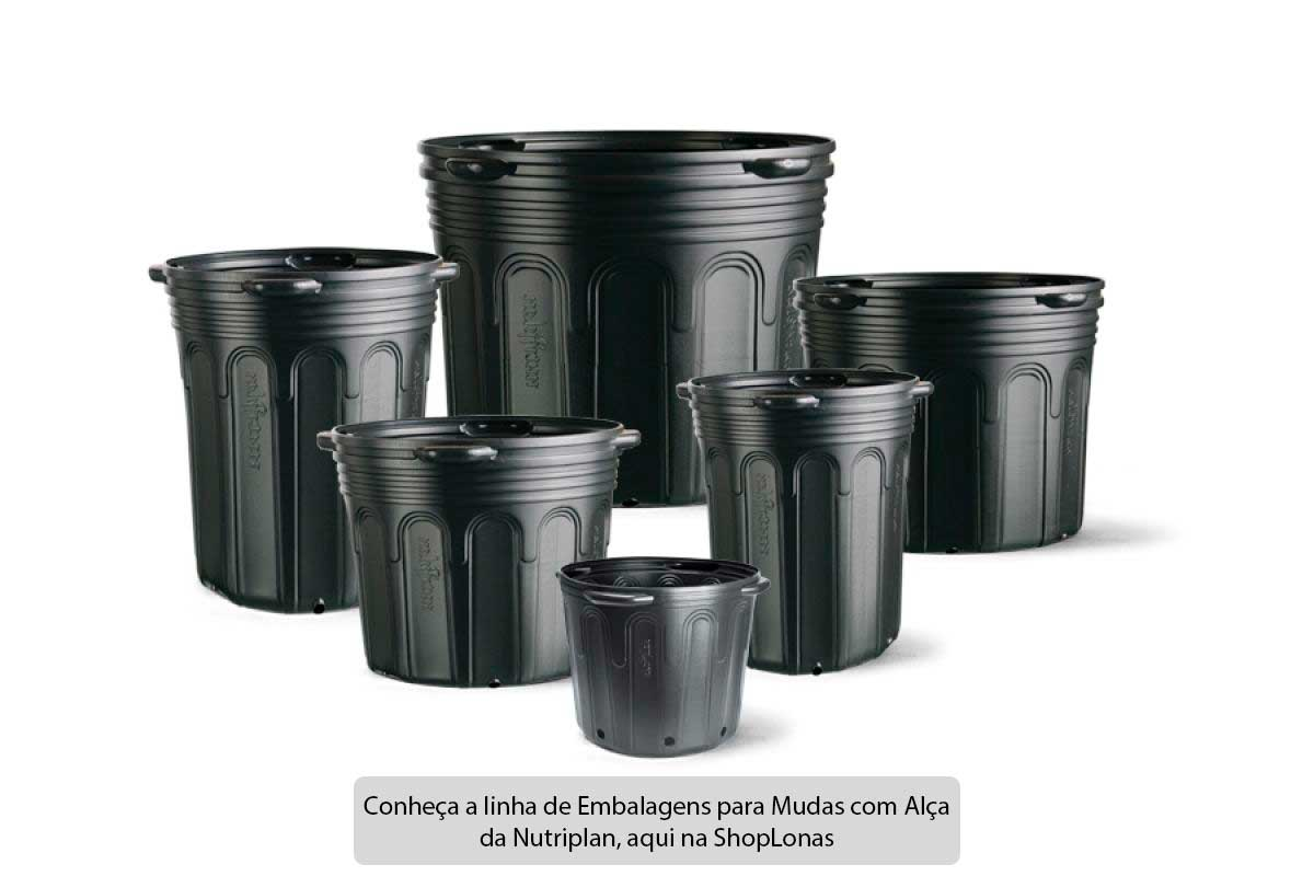 Kit com 100 Embalagem para Mudas 40L Vaso com Alça
