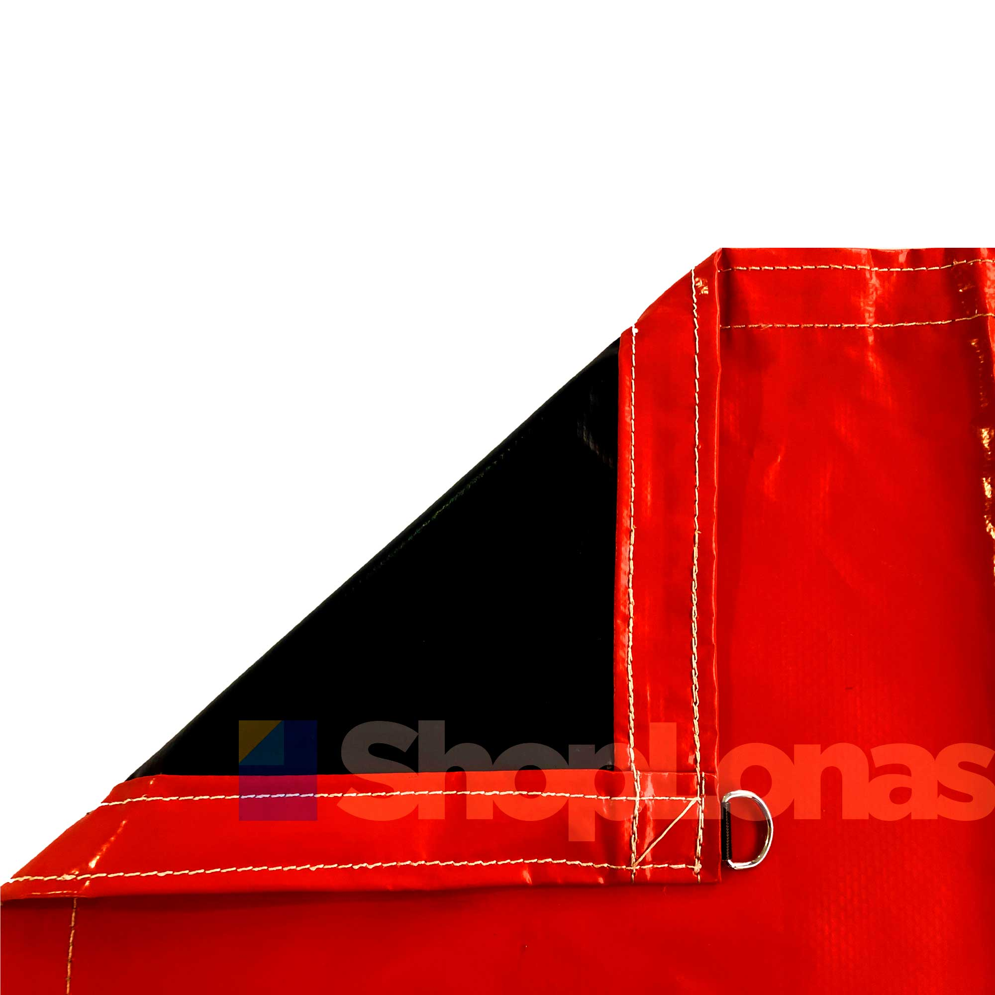 Lona Caminhão Vermelho/Preto Emborrachada PVC 8x4m