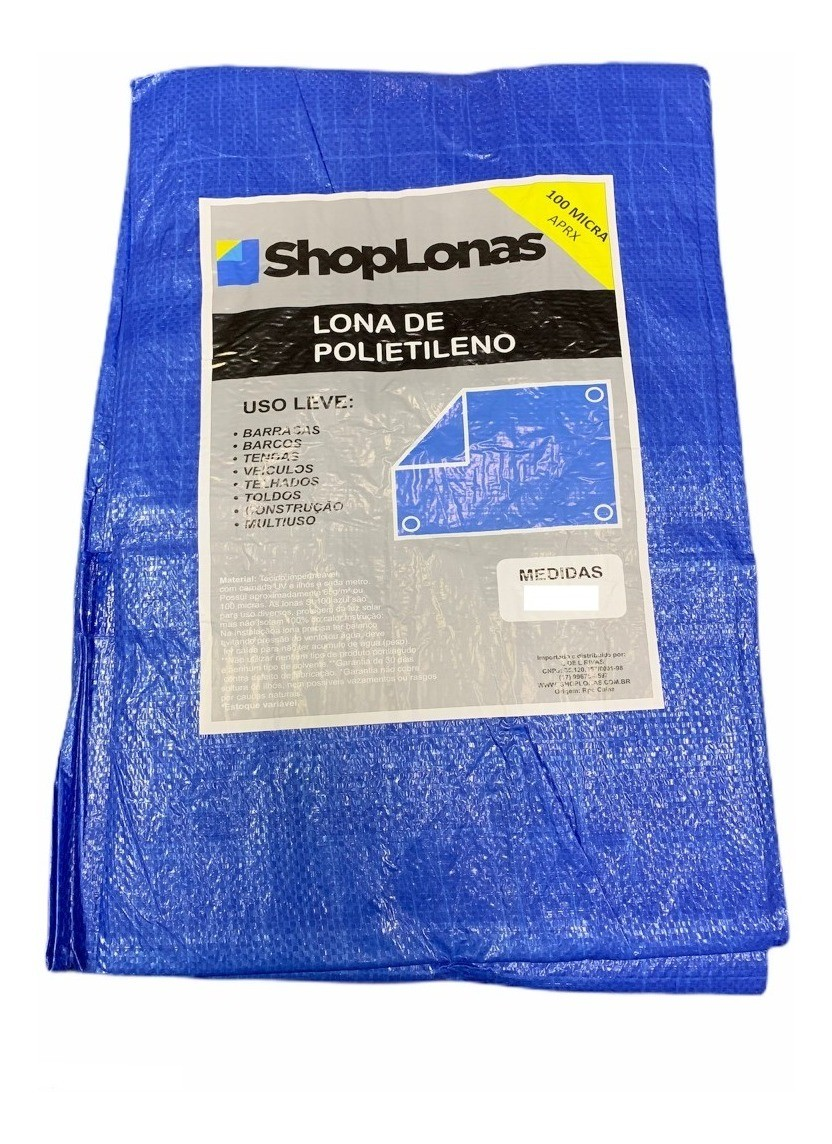 Lona Leve Multiuso Cargas Camping Azul 100 Micras - 10x4