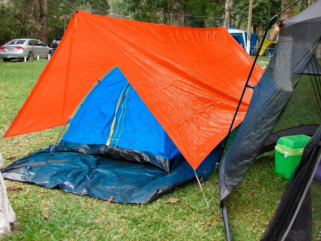 Lona Multiuso Barraca Camping Cargas em Polietileno Laranja 300 Micras - 8x6