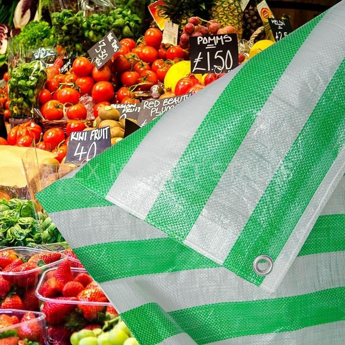 Lona Multiuso Listrada Barraca de Feira Verde/Branco 300 Micras