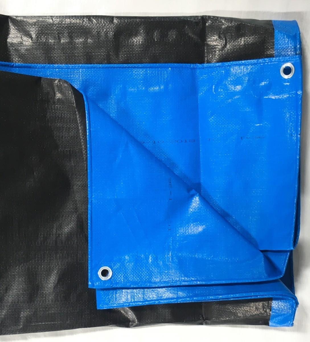 Lona Multiuso Impermeável Cargas Camping em Polietileno Azul/Preto 300 Micras
