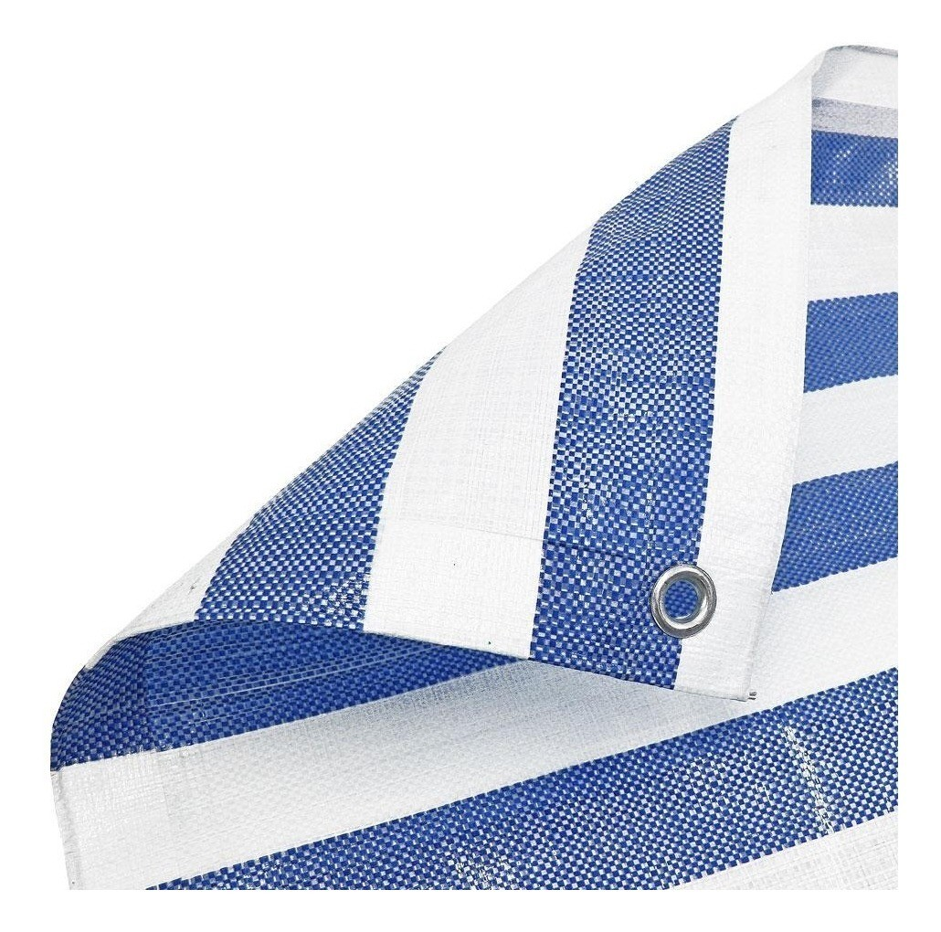 Lona Multiuso Polietileno Listrada Barraca de Feira Azul/Branco 300 Micras