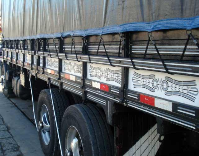Lona para Caminhão Emborrachada Preto/Preto com Argola