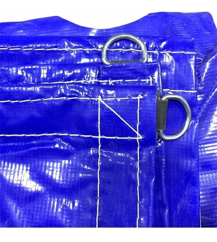 Lona Para Caminhão Locomotiva PVC Azul/Preto Com Argola 4x2,5m