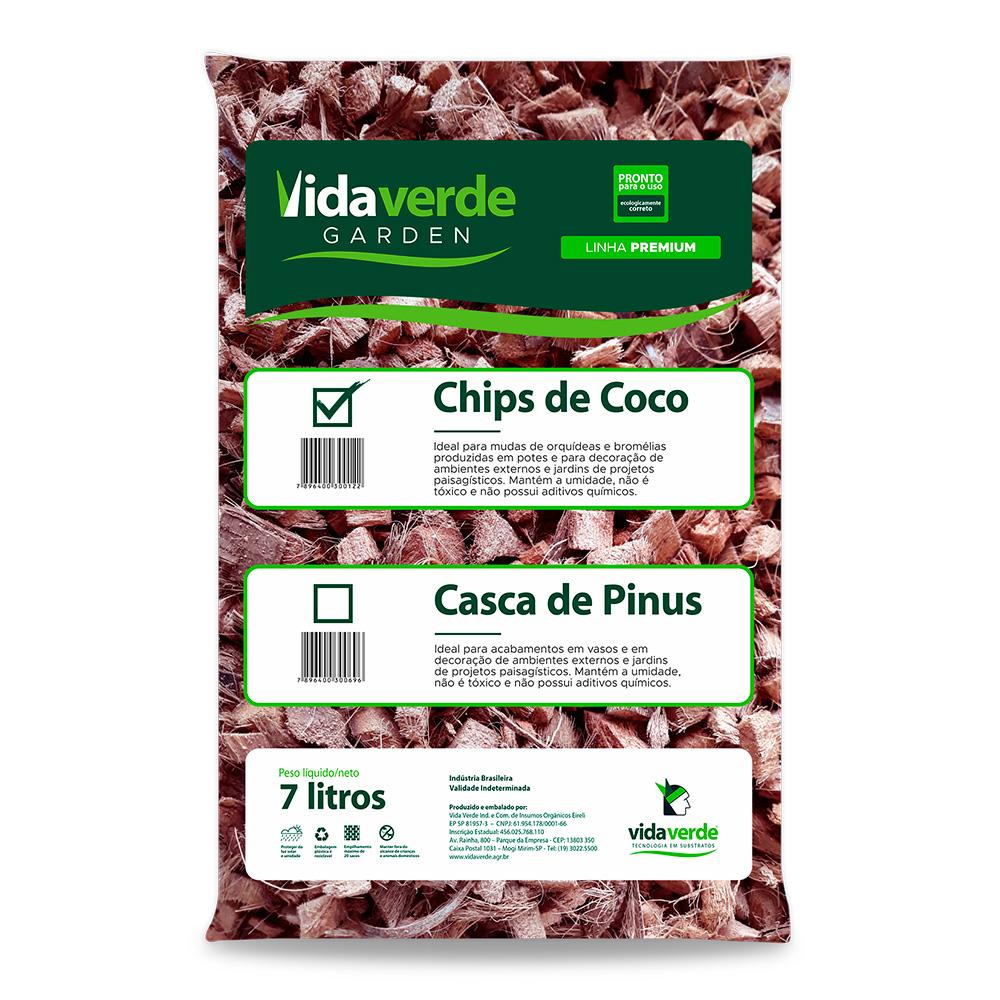 Substrato Chips de Coco p/ Orquídeas Bromélias Vida Verde 7L