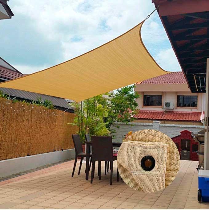 Tela Shade Decorativa Areia com Bainha Ilhós e Kit 5x4,5m