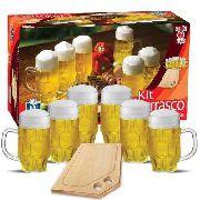Kit Caneca Cerveja Madeira Barril Tabua Chopp Maltz 500ml