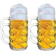 Caneca Chopp Cerveja - Mass Diamond G De Vidro 1 Litro Kit c/ 04