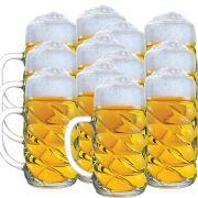 Caneca Chopp Cerveja - Mass Diamond G De Vidro 1 Litro Kit c/ 12