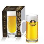 Caneca de Chopp Cerveja Vidro Berna Canelada 400ml