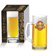 Caneca De Vidro Para Cerveja Chopp Berna Canelada De 300ml