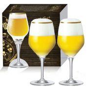 Conjunto de Taças de Vidro Com Filete de Ouro Cerveja Beer Sommelier Elegance de 570ml 2 pcs