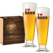 Copo de Cerveja Tulipa Vidro de 300ml  I Love Beer
