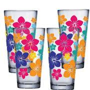Jogo de Copo de Água de Vidro Conic Mix Flowers 415ml 4 Pcs