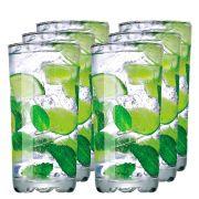 Jogo de Copo de Água Vidro Miragem Long Drink 300ml 6 Pcs