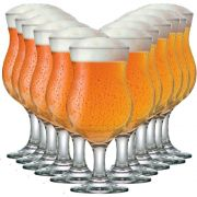 Jogo de Taça de Cerveja Vidro Tulipa Panamá 400ml 12 Pcs