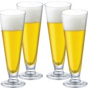 Jogo de Taças de Cerveja Tulipa Reta Cristal 300ml 4 Pcs