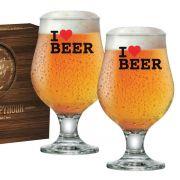 Taça de Cerveja Vidro Tulipa Beer Master 380ml I Love Beer