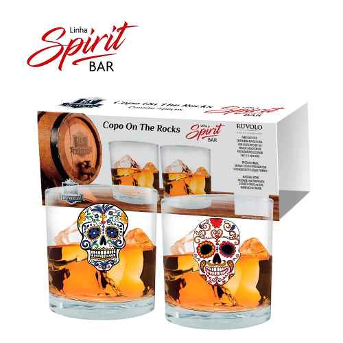 Jogo Copos Whisky Shot On The Rocks Caveira 2 Pcs 320ml
