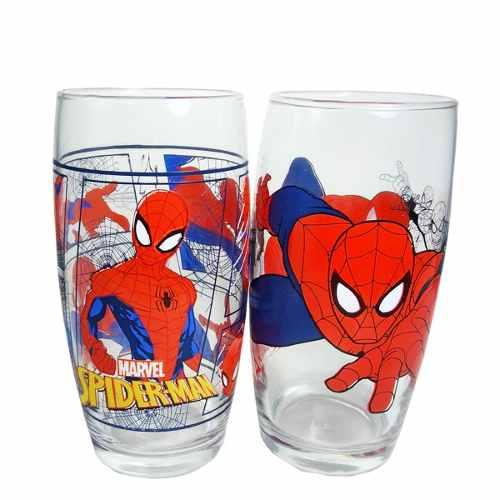 Copo Homem Aranha Marvel Spider Man Vidro Kit 2 Pcs 430ml