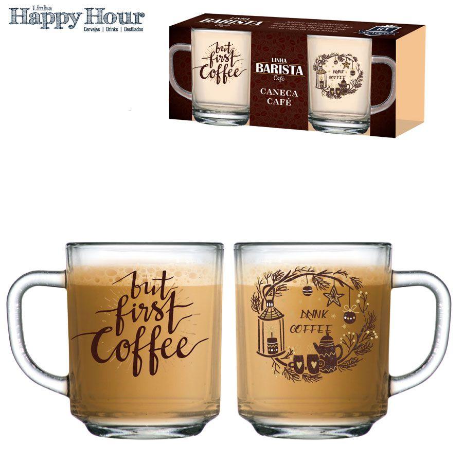 Caneca de Café Vidro First Coffee 245ml - 2 Peças