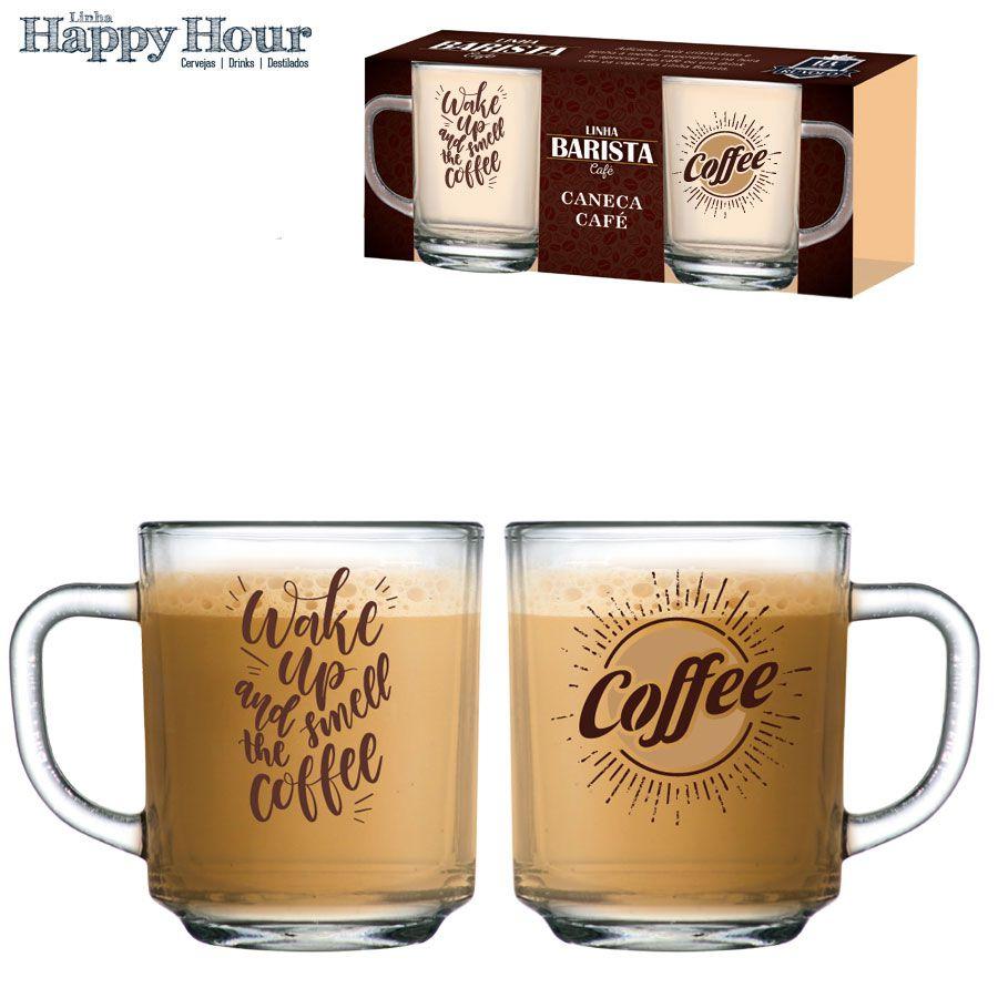 Jogo de Canecas de Cafe Wake Up Luva 2 Pcs 245ml