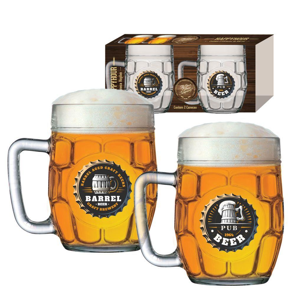Caneca de Chopp de Vidro ou Cerveja Happy Hour Hopfen 610ml