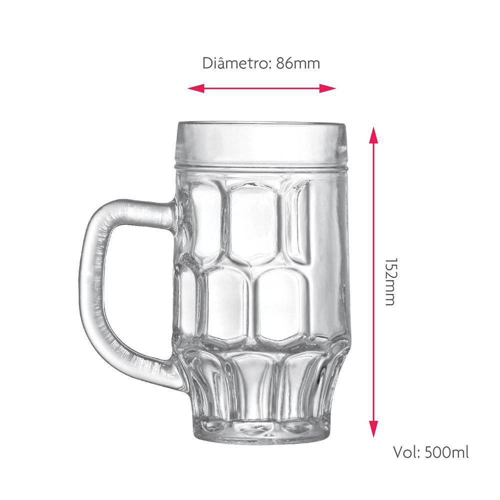 Caneca de Chopp de Vidro ou Cerveja Maltz 500ml