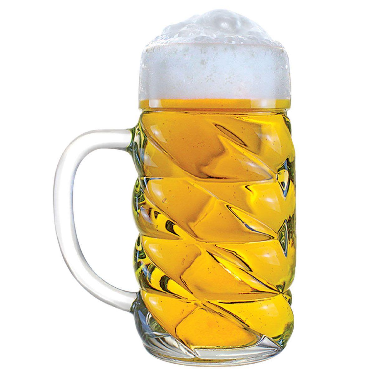 Caneca de Chopp de Vidro ou Cerveja Mass Krug Diamond G 1 Litro