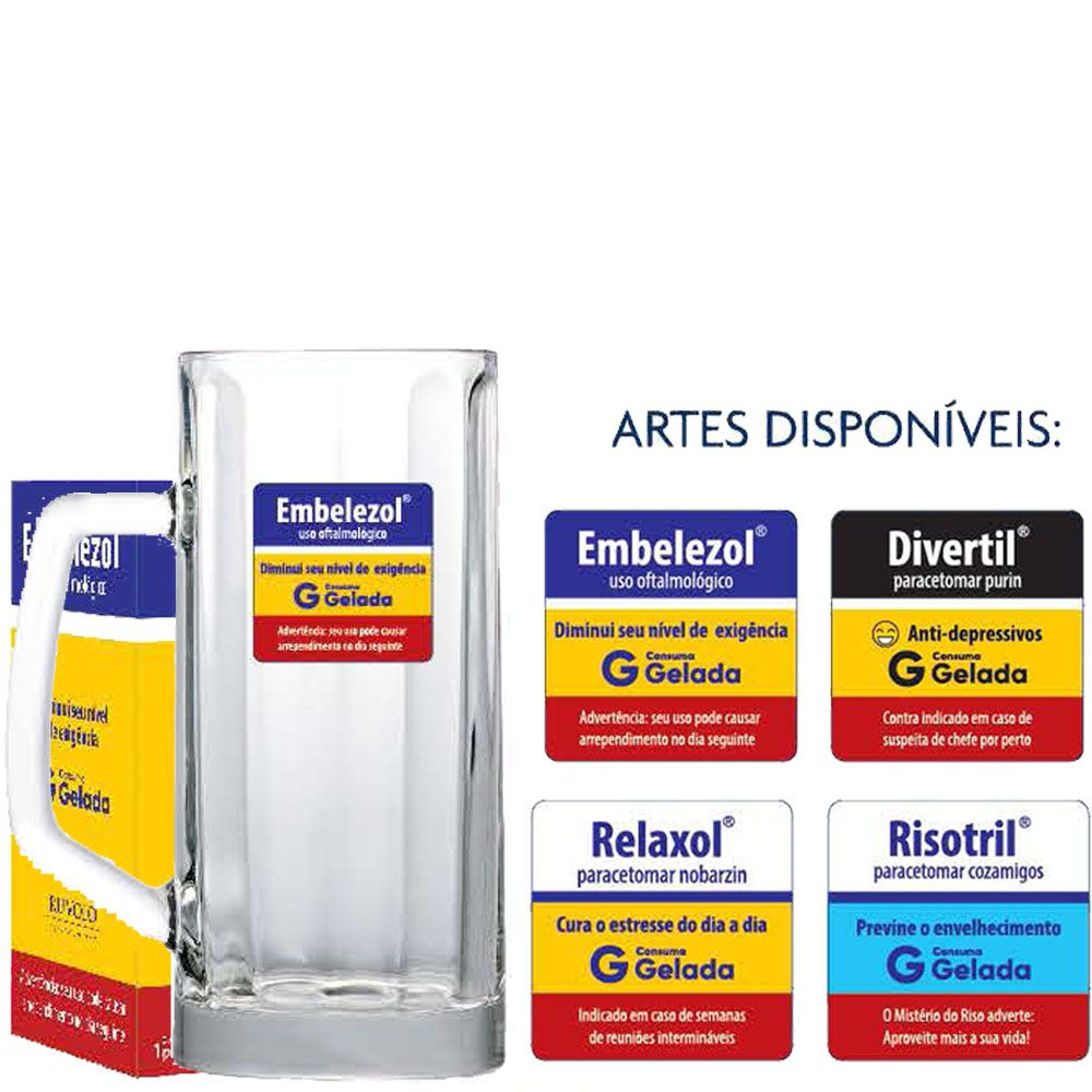 Caneca de Chopp Vidro Berna Canelada Medicine 500ml