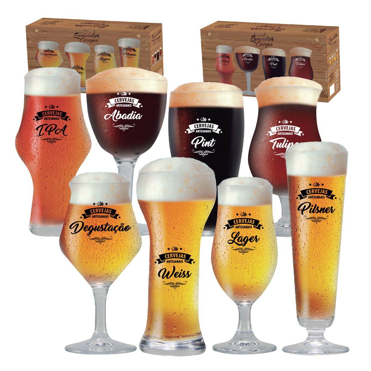 Conjunto c/ 02 Kits Copos Cerveja Taças Cerveja Beer Sommelier Claras e Escuras