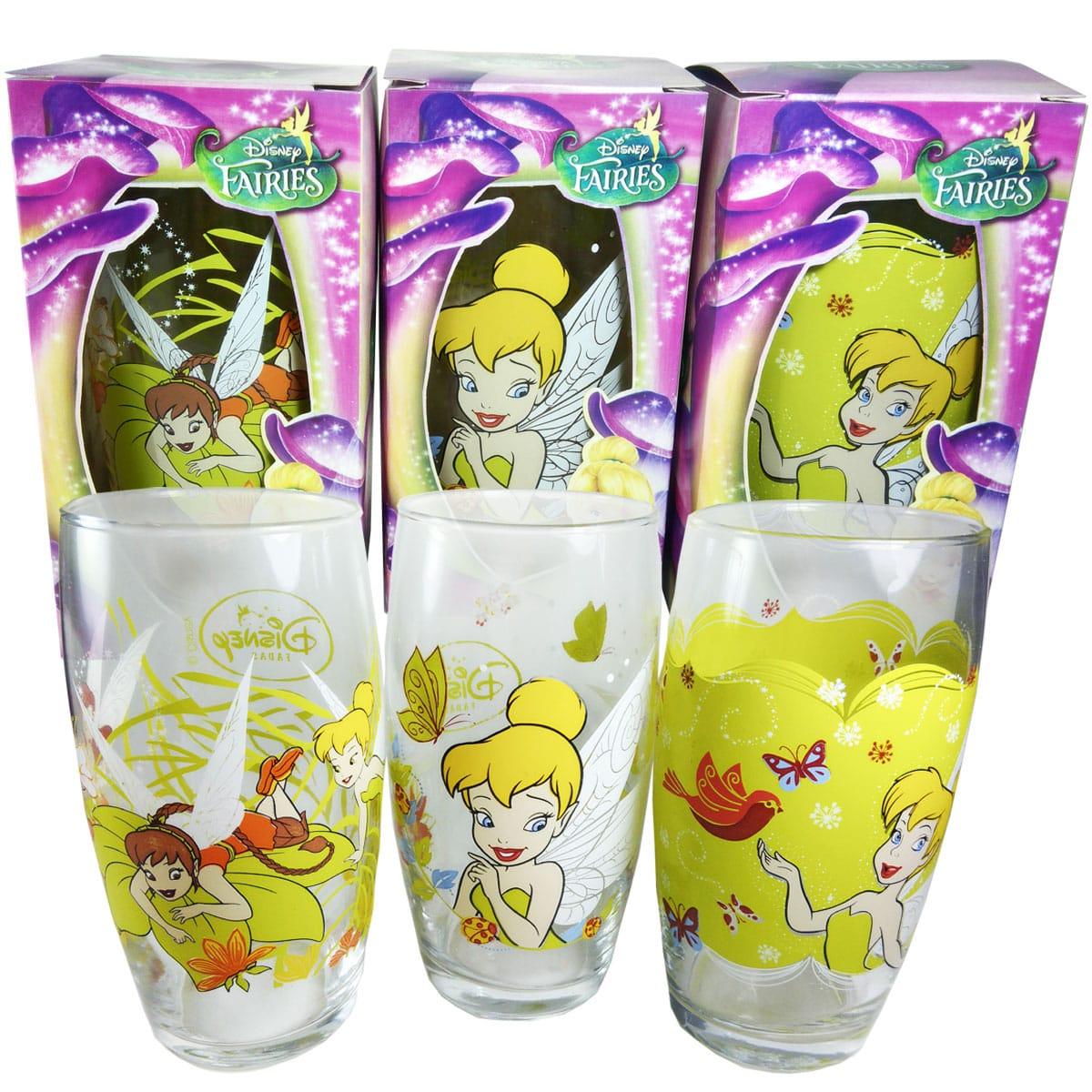 Conjunto Copos Disney Fadas Sininho Tinker Bell Fawn Rosetta 03 pçs