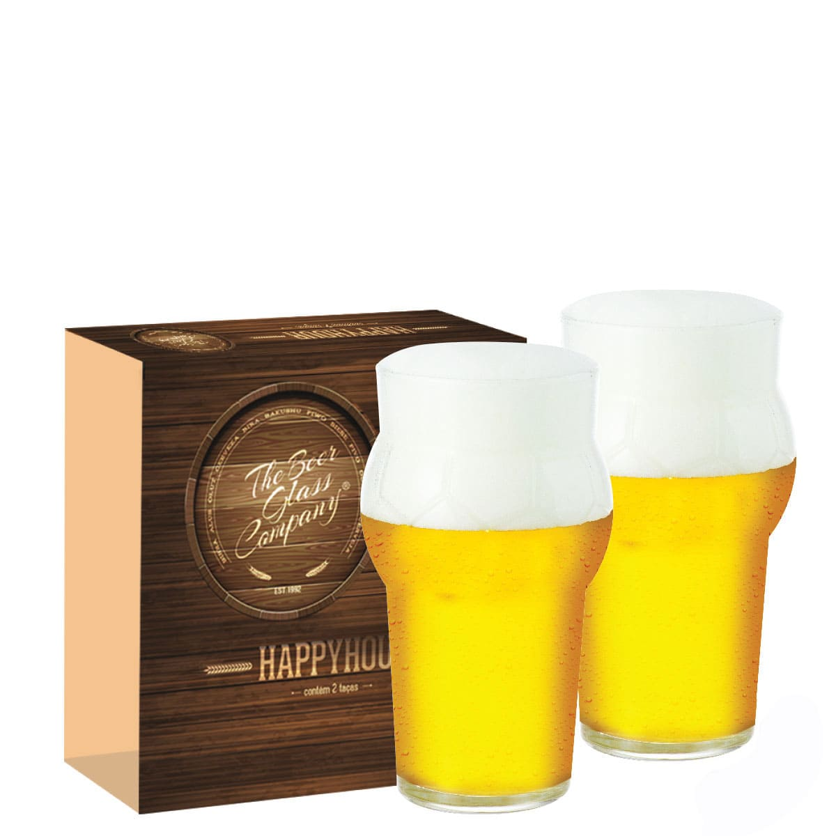 Conjunto de Copo de Vidro para Cerveja Futebol de 580ml 02 pçs