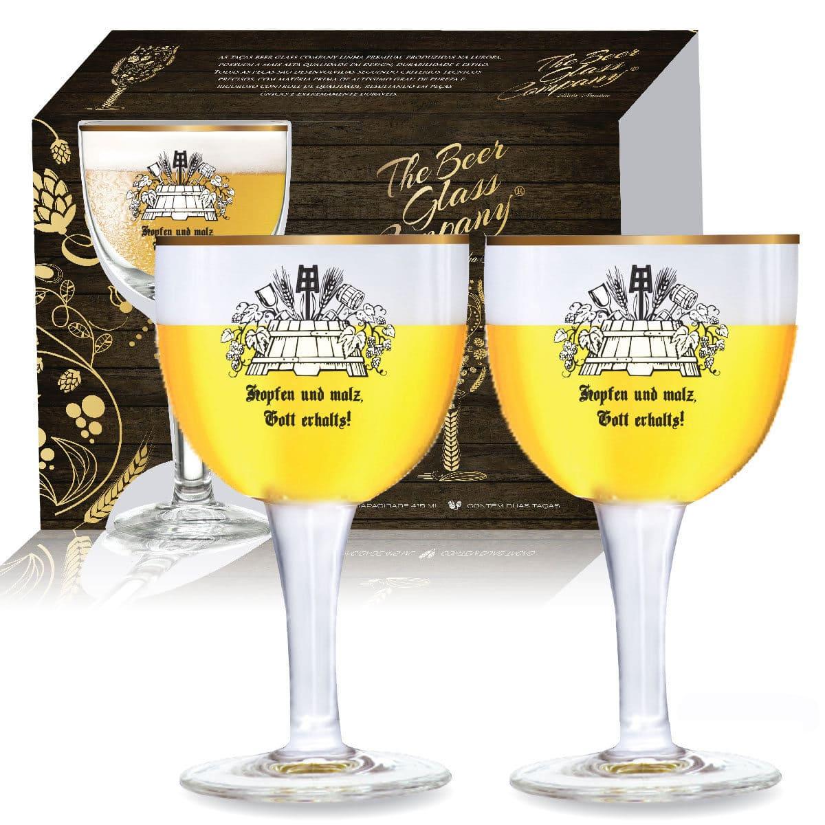 Conjunto de Taça de Cristal C/ Filete de Ouro Cerveja Budapest de 415ml 02 peças