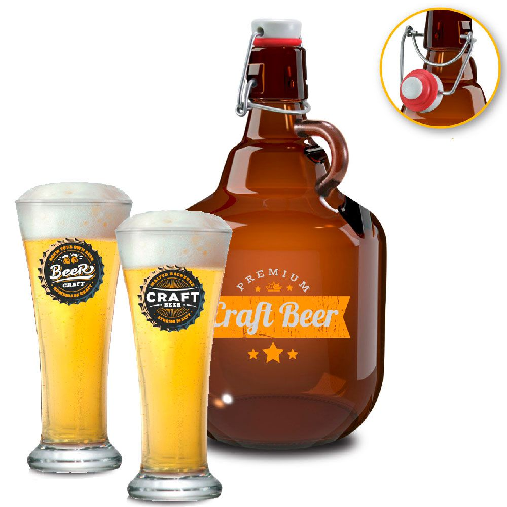 Conjunto Growler Craft Beer + Jogo de Copos de Cerveja HH Pilsen 400 ml 2 Pcs
