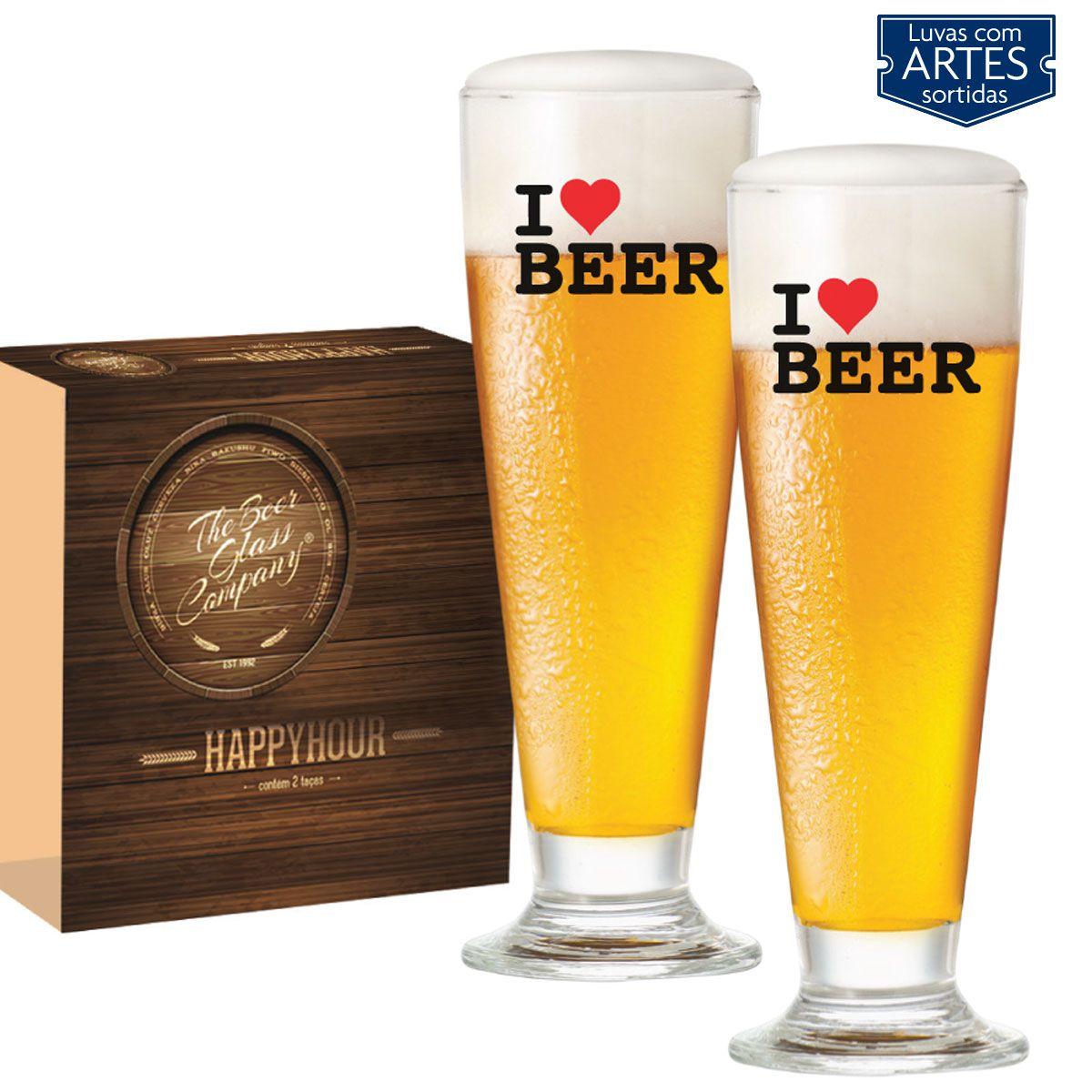 Conjunto Growler I Love Beer 2 Litros e Conjunto de Taças para Cerveja Vidro 300ml